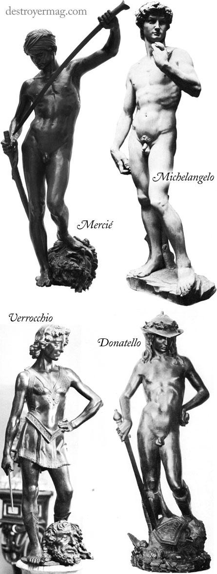 David statues by Antonin Mercié, Michelangelo, Andrea del Verrocchio and Donatello.