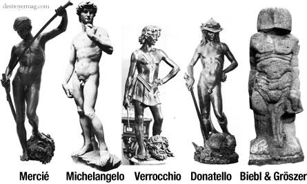 Five David statues