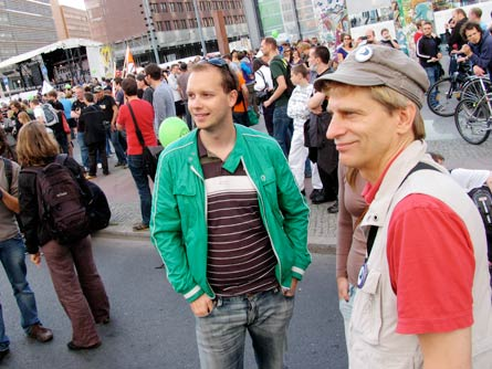 Peter Sunde of The Pirate Bay and Oscar Swartz in Berlin at the Freedom not Fear demonstration, September 12th, 2009