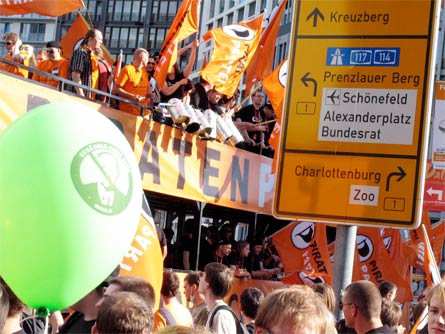 The German Pirate Party at the Freedom not Fear demonstration at Potsdamer Platz, Berlin, September 12th, 2009