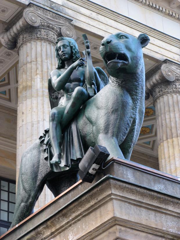 """""""Musizierende Genien auf Panther und Löwe reitend"""", by Christian Friedrich Tieck, 1851. Boy sculptures on Gendarmenmarkt, Berlin. Photo by Karl Andersson."""