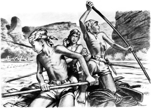 Pierre Joubert illustration of young shirtless boys on the river.