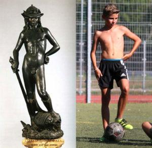 Donatello's David and a real shirtless teen boy
