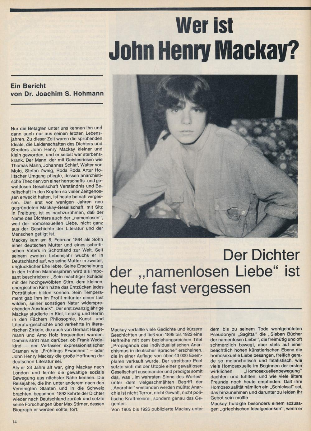 Du & Ich Nr 2, 1979, John Henry Mackay