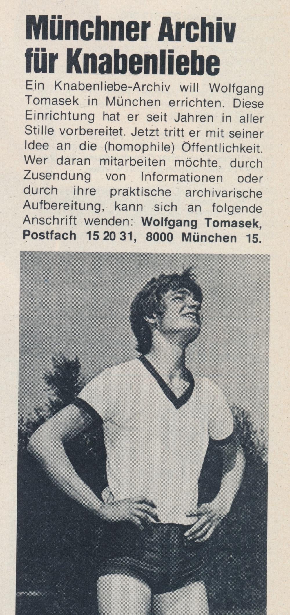 Du & Ich Nr 3, 1979: Münchner Archiv für Knabenliebe