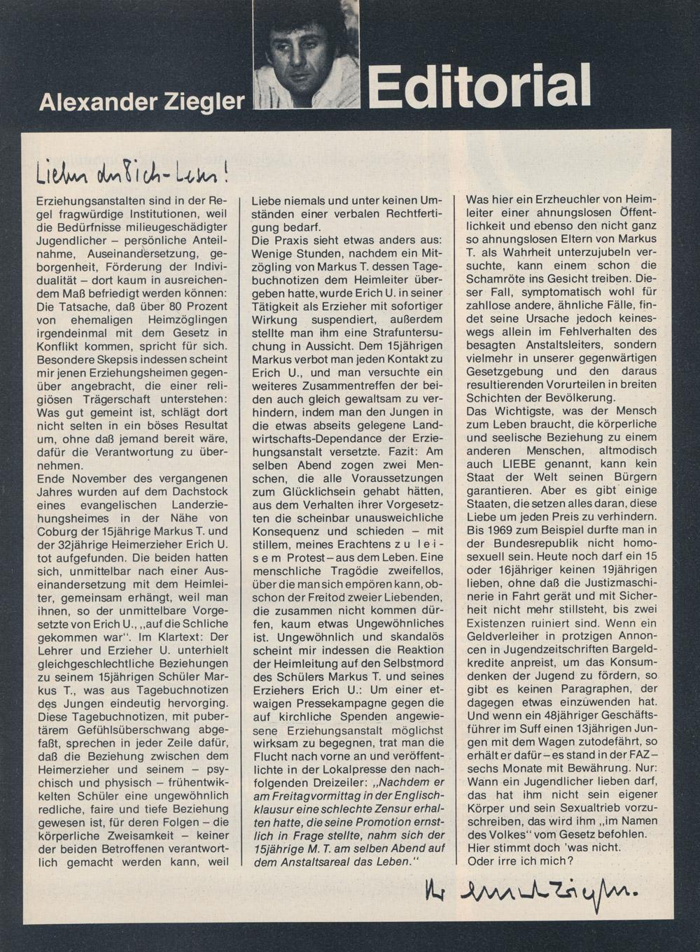 Du & Ich Nr 3, 1979: Alexander Ziegler Editorial