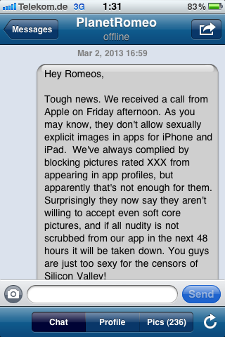 Gay romeo message about Apple iPhone banning soft core profile pictures