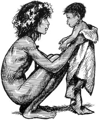 Pierre Joubert illustration of a naked boy with a kid, from The Jungle Book. Mowgli.
