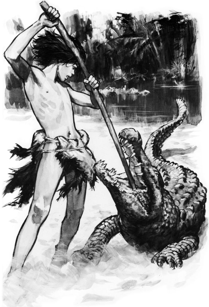 Pierre Joubert: Yug illustration, a shirtless boy with smooth armpits fighting a crocodile.