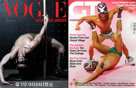 Magazine covers: Vogue Hommes Japan vs Gay Times